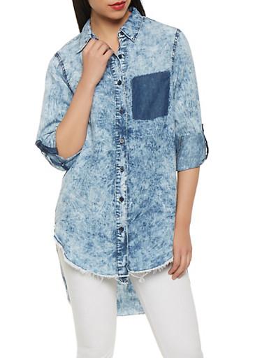 Acid Wash Denim High Low Shirt,STONE,large