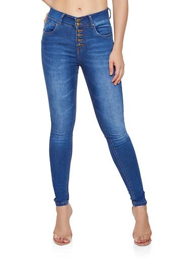 WAX 6 Button Skinny Jeans,MEDIUM WASH,large