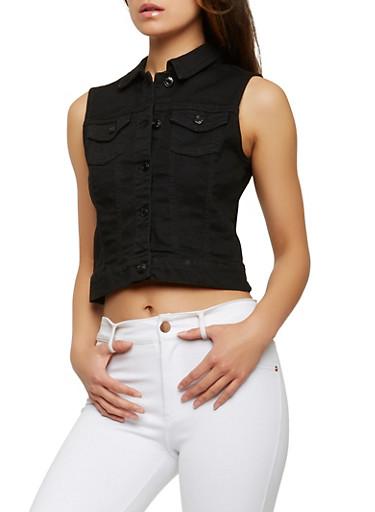 WAX Basic Denim Vest,BLACK,large