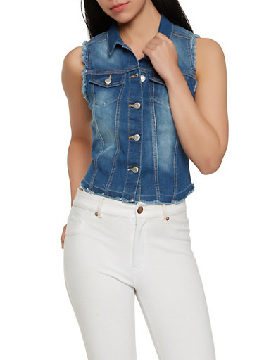WAX Frayed Denim Vest,MEDIUM WASH,large