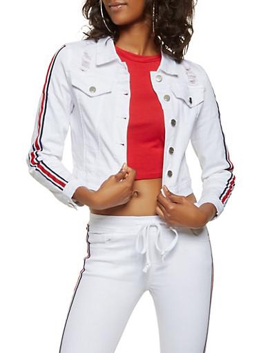 Striped Ribbon Trim Jean Jacket,WHITE,large