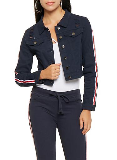 Striped Ribbon Trim Jean Jacket,NAVY,large