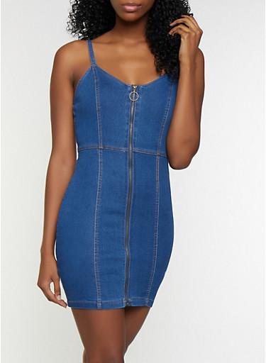 Zip Front Mini Denim Dress,MEDIUM WASH,large