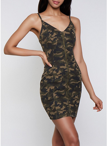 Zip Front Camo Denim Bodycon Dress,OLIVE,large