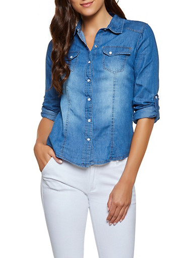 b507c18642 Chambray Tabbed Sleeve Shirt