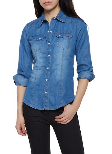 Tabbed Sleeve Button Front Denim Shirt,MEDIUM WASH,large