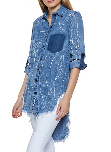 Paint Splatter Frayed High Low Shirt,DENIM,large