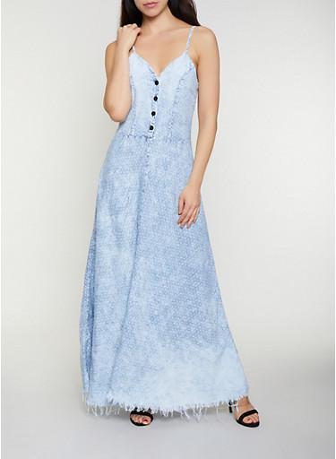 Star Print Denim Maxi Dress,LIGHT WASH,large