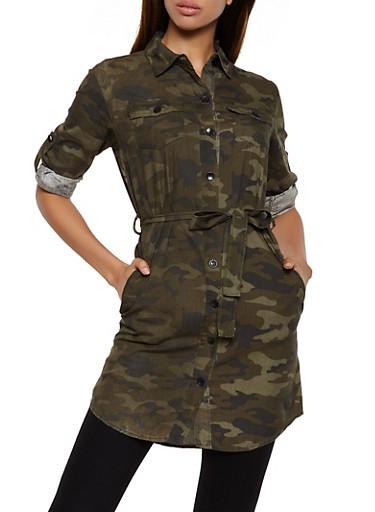Belted Camo Tunic Shirt,TAN,large