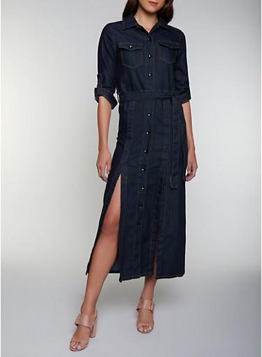 Slit Button Front Denim Dress,DENIM,large