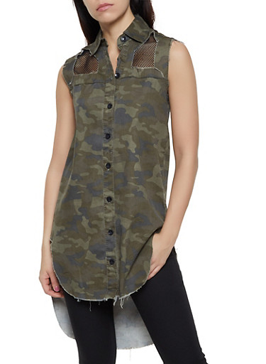 Button Front Frayed Denim Camo Tunic,OLIVE,large