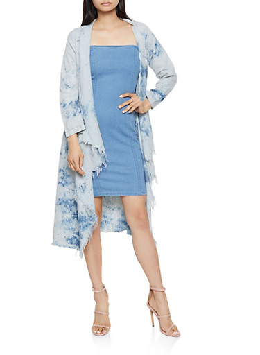 Tie Dye Chambray Duster,LIGHT WASH,large