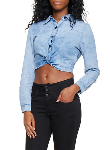 Cropped Twist Front Chambray  Shirt,MEDIUM WASH,large