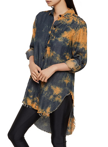 Tie Dye Button Front High Low Shirt,COPPER,large