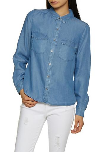 Chambray Button Front Shirt,MEDIUM WASH,large