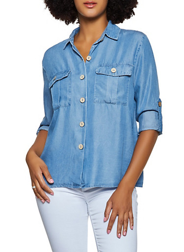 Chambray Cuffed Button Front Top,MEDIUM WASH,large