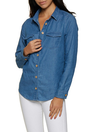 Chambray Button Front Shirt | 3077069391111,MEDIUM WASH,large