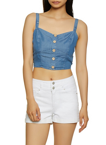 Chambray Button Front Crop Top,MEDIUM WASH,large