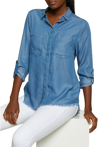Frayed Chambray Shirt,MEDIUM WASH,large