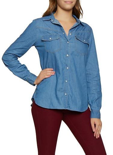 Chambray Long Sleeve Shirt,MEDIUM WASH,large