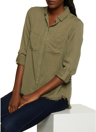 Two Pocket Button Front Shirt,OLIVE,large
