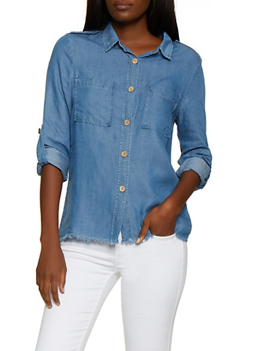 Frayed Hem Chambray Button Front Shirt,MEDIUM WASH,large