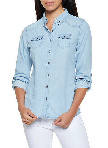 Highway Button Front Denim Top,LIGHT WASH,large