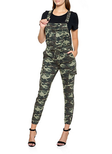 Almost Famous Camo Denim Cargo Overalls,OLIVE,large