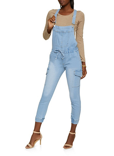 Almost Famous Whiskered Denim Cargo Overalls,LIGHT WASH,large