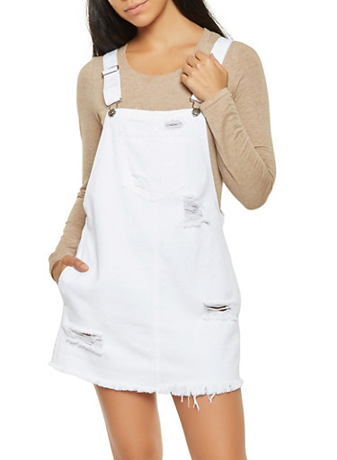 Distressed Denim Overall Dress,WHITE,large