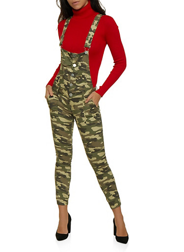 VIP Button Front Camo Overalls,GREEN,large