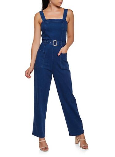 Denim Belted Jumpsuit,DARK WASH,large