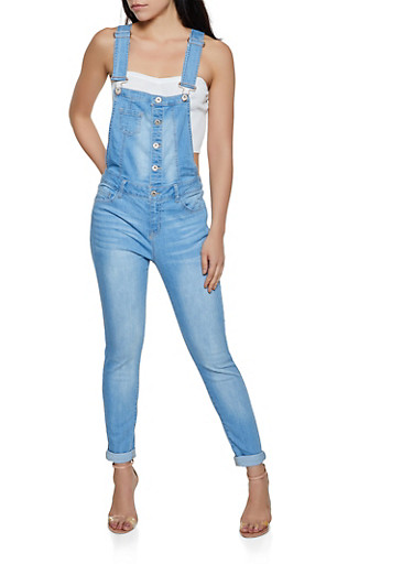 WAX Button Front Denim Overalls,LIGHT WASH,large