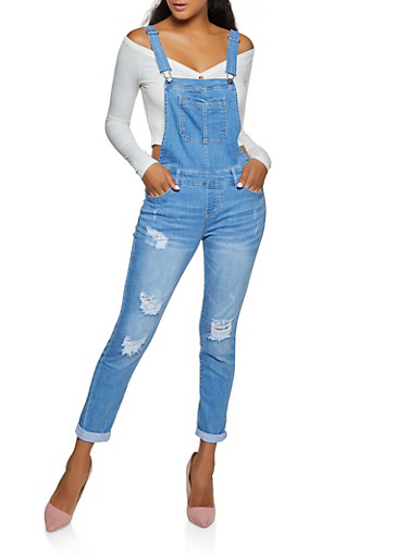 WAX Distressed Overalls,LIGHT WASH,large