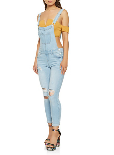 WAX Distressed Denim Overalls,LIGHT WASH,large