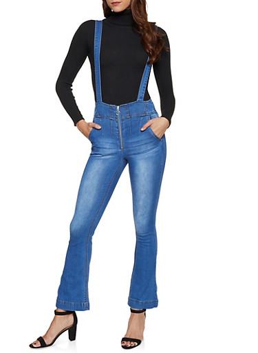 Zip Front Flared Suspender Jeans,MEDIUM WASH,large