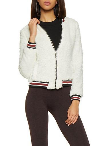 Striped Trim Sherpa Bomber Jacket,IVORY,large