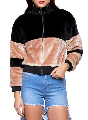 Color Block Faux Fur Bomber Jacket,BLUSH,large