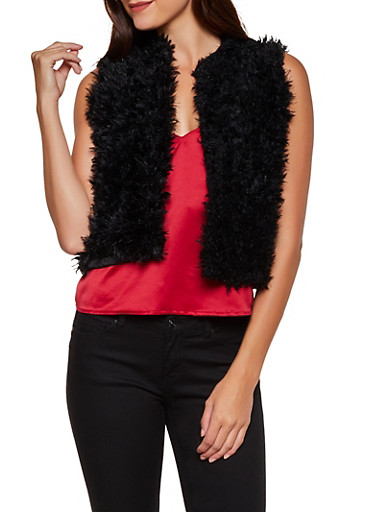 Faux Fur Vest | 3084038340103,BLACK,large