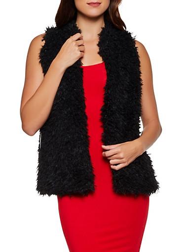 Shaggy Faux Fur Open Front Vest,BLACK,large