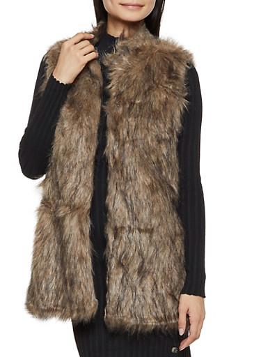 Long Faux Fur Vest,BROWN,large