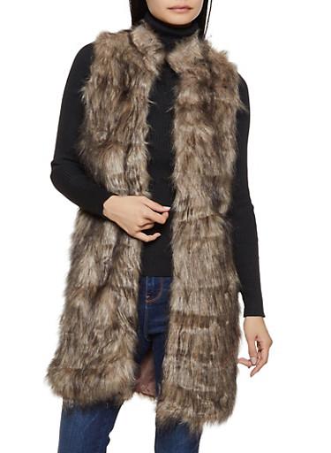 Two Tone Long Faux Fur Vest,BROWN,large