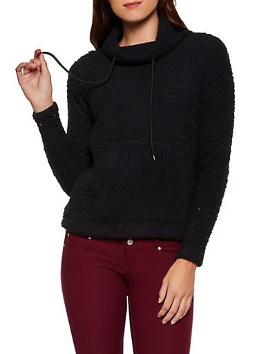Sherpa Funnel Neck Sweatshirt,BLACK,large