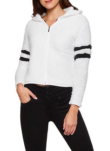 Hooded Varsity Stripe Sherpa Zip Jacket,IVORY,large