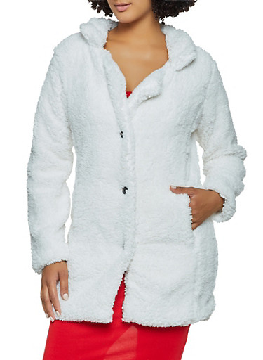Sherpa Button Front Peacoat,IVORY,large