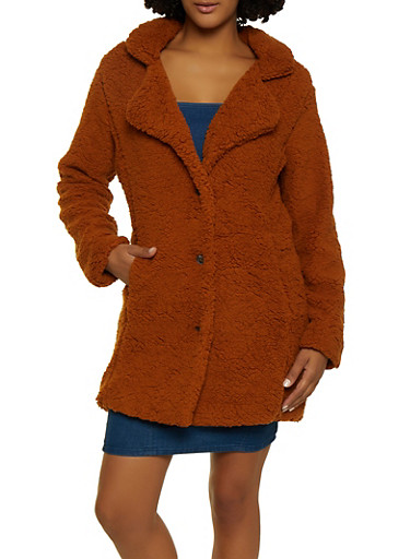 Sherpa Button Front Peacoat by Rainbow