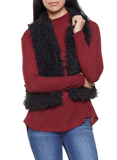 Shaggy Faux Fur Vest,BLACK,large