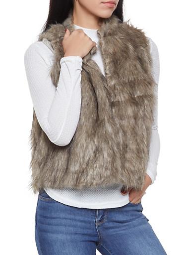 Faux Fur Vest,BROWN,large
