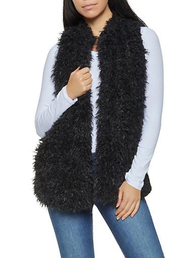 Shaggy Faux Fur Vest,BLACK,large