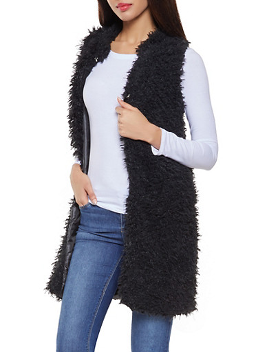 Long Shaggy Faux Fur Vest,BLACK,large